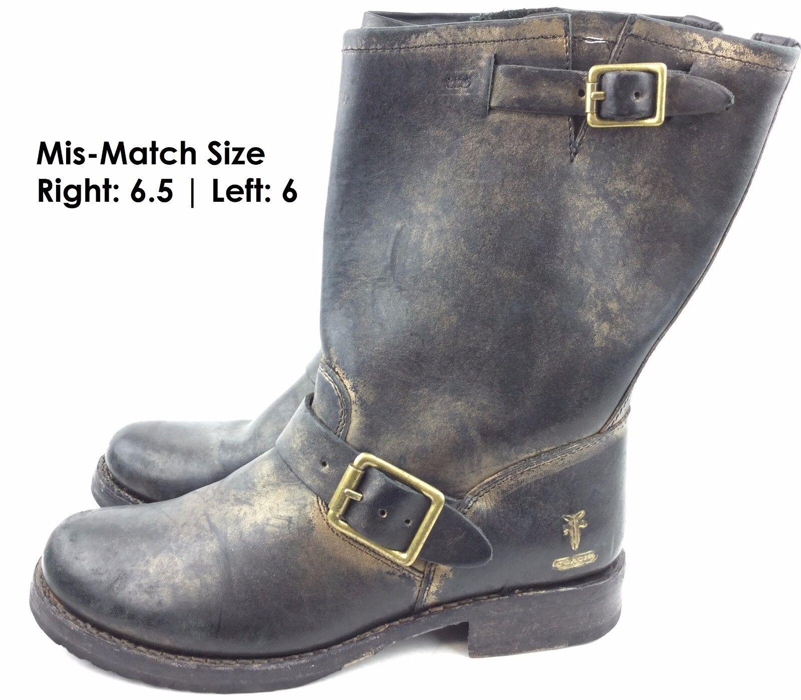 Frye para para para el entrenador botas de cuero metálico Veronica Corto Talla  derecho EE. UU. 6.5   izquierda 6  marca en liquidación de venta