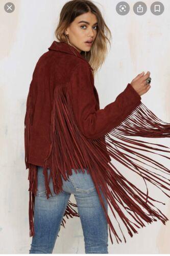 Nasty Gal Suede Leather Fringe Jacket Size Small