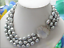 """3 Row 10-11 mm Gris Baroque Freshwater cultured pearl necklace 17-19/"""""""