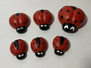 Set of 6 silver colour pcs ladybug figurine