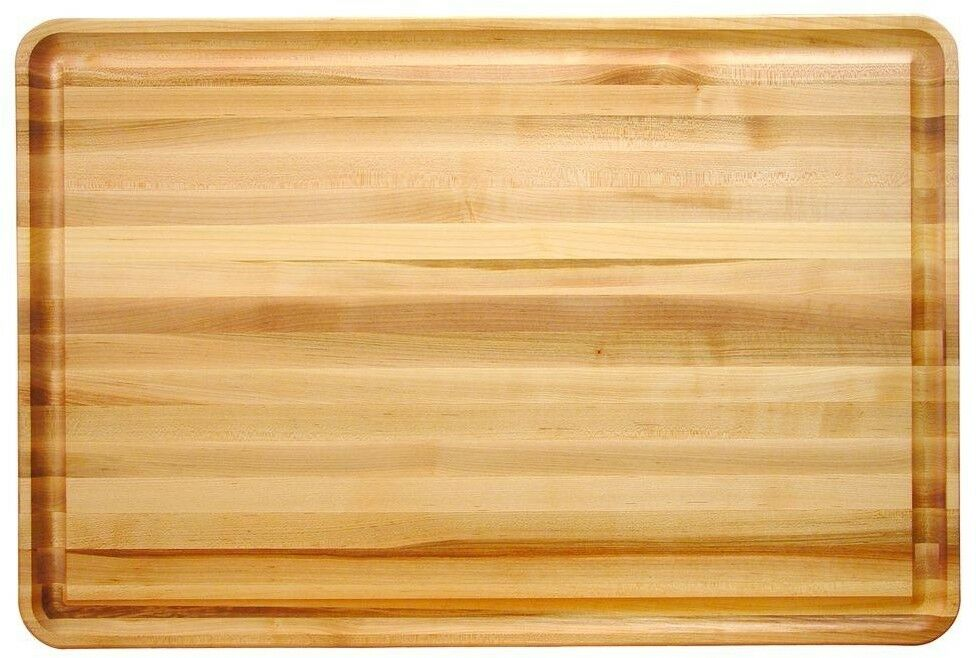 Cutting Board 20 in. x 30 in. Rectangle Hardwood Reversible in Natural Finish