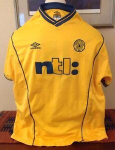 brand new 23bbe 7a408 Details about Vintage Celtic FC NTL Yellow Umbro VAPA Tech Soccer Jersey  2000 - 2001 #15 Away