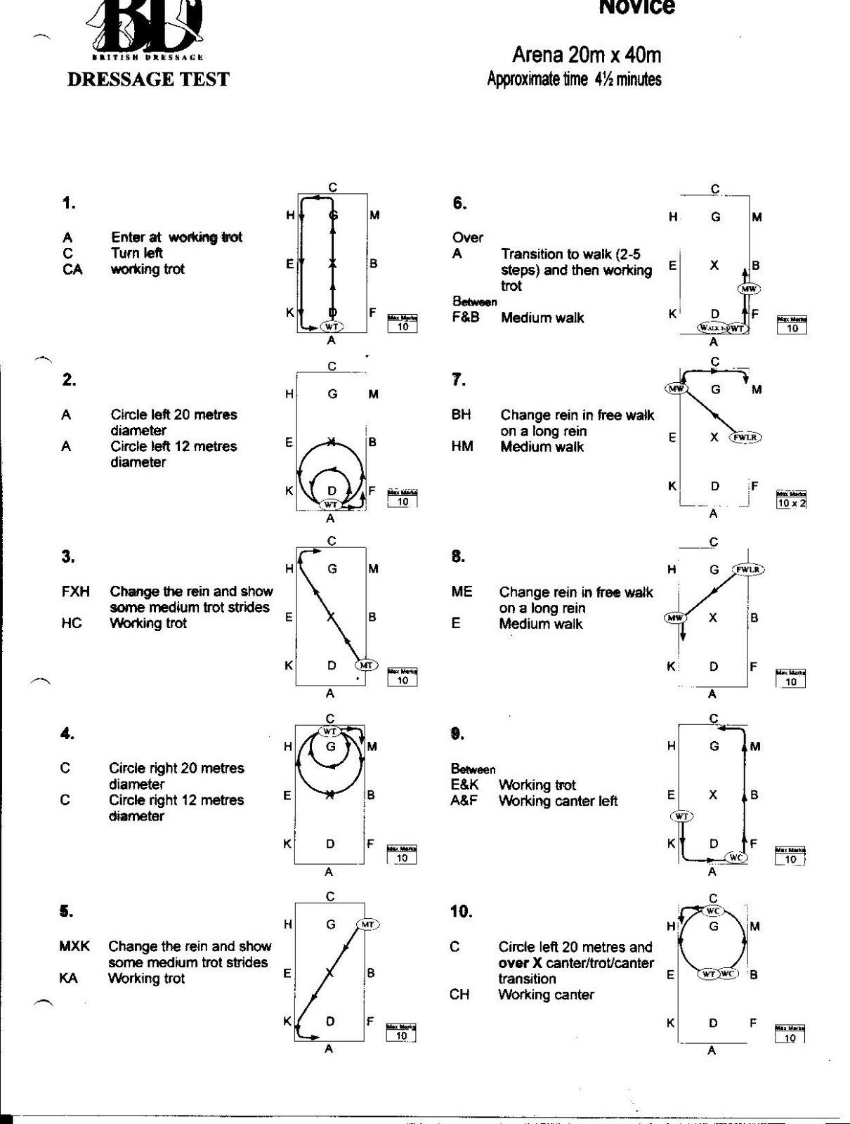 British Dressage Test Sheets With Diagrams Intro Preliminary Novice