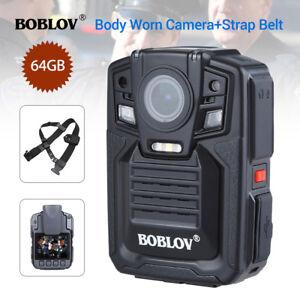 Body-Worn-Camera-HD-1296P-64GB-DVR-Security-Video-Ambarella-A7L50-Belt-Strap
