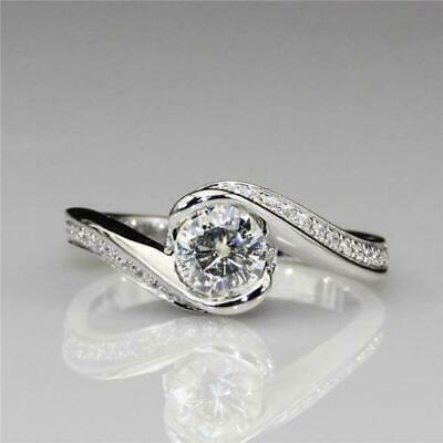 1.30ct round cut east west solitaire diamond engagement ring 14k white gold over