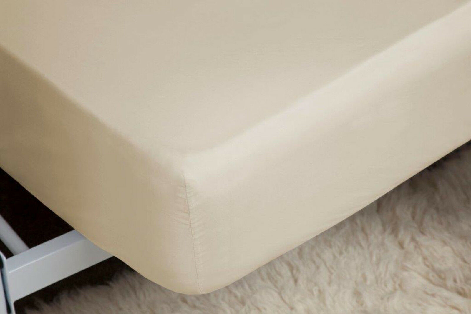 400 Thread Count Single Ply Egyptian Cotton Extra Deep Fitted Sueprking Cream