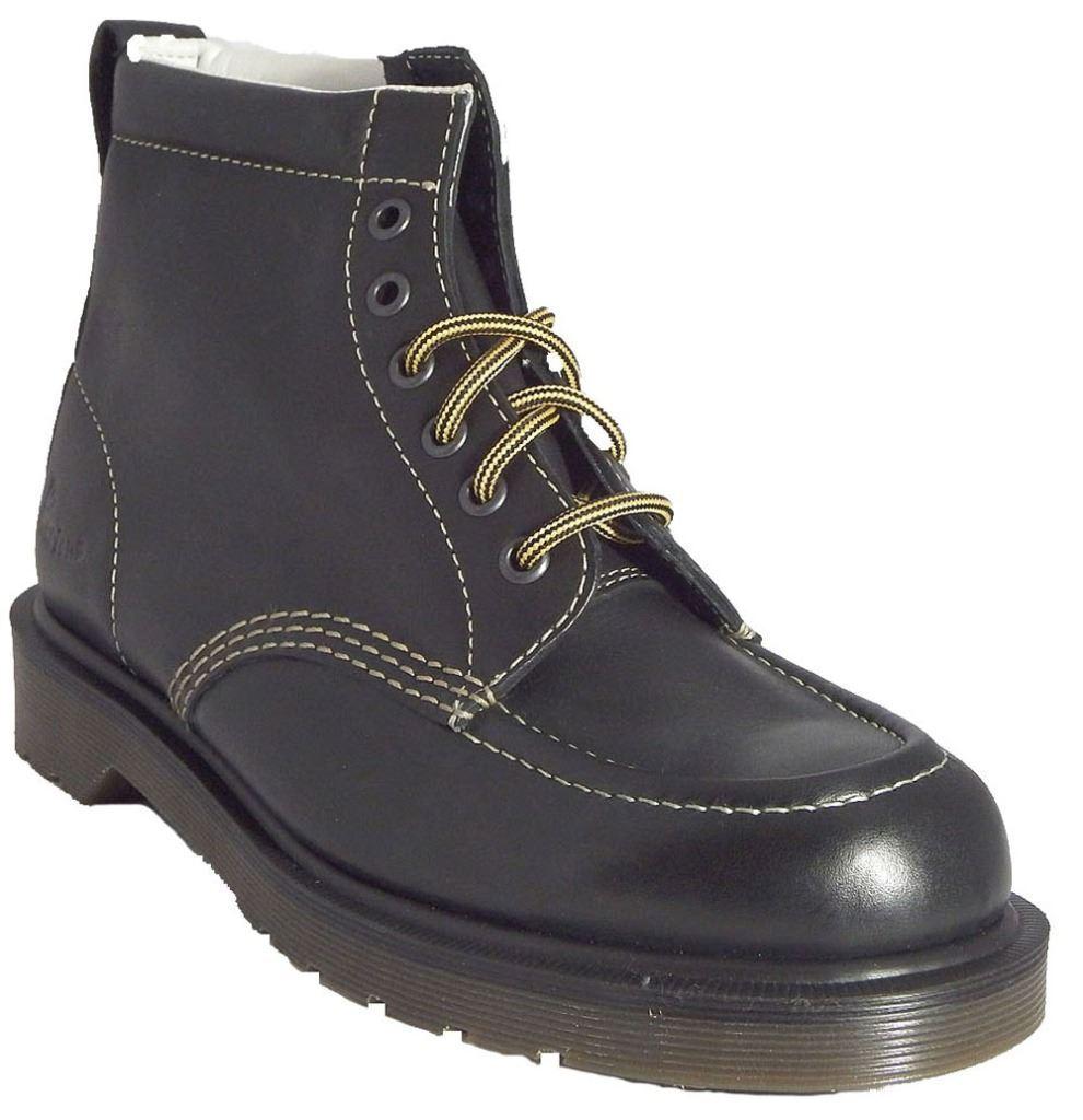 Dr Martens Mens Damian Black Alsina Leather Derby Ankle 6 Eye Doc Boots
