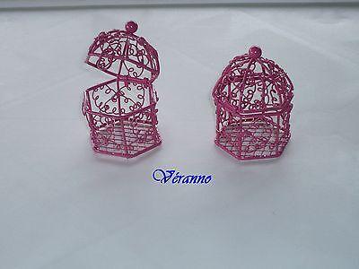 Metodico Mini-cage Oiseaux En Métal Fuchsia. Contenant Pour Dragées