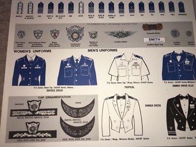 United States USCG US Coast Guard Auxiliary Uniform Insignia Chart Poster 1985