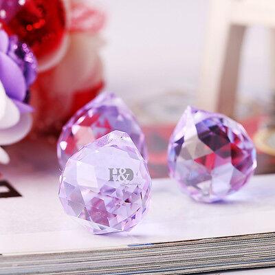 5 Purple Crystal Chandelier Light Ball Prisms Suncatcher Drops Pendants 20mm