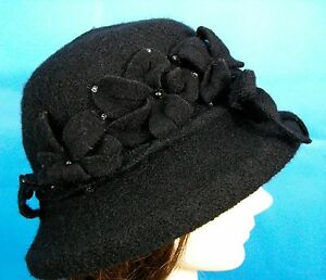 786a95cc2f3 Black Bucket Hat Travel Boiled Wool Cloche Jeanne Simmons Beaded One ...