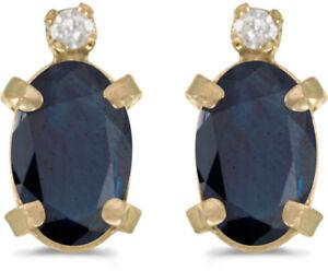 100% QualitäT 14k Gelbgold Oval Saphir Und Diamant Ohrringe (cm-e2209x-09) Hochwertige Materialien