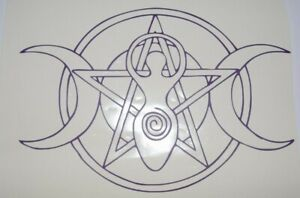 Bumper-car-Vinyl-Sticker-Motorbike-decal-window-Bike-vehicle-Goddess-pentagram
