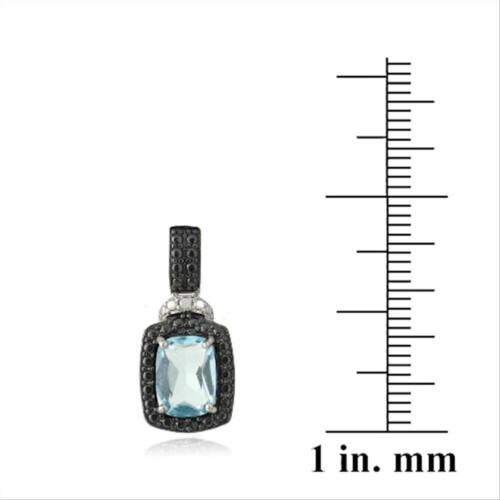 925 Silver 3.8ct Blue Topaz /& Black Diamond Accent Rectangle Dangle Earrings