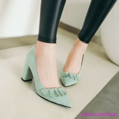 Women pointy toes sweet Pumps Chunky Sweet High Heels Dress Shoes plicated new