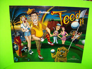 Tee-039-d-Off-Original-1993-Gottlieb-NOS-Pinball-Machine-Translite-Art-Golfing-Theme