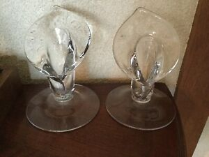 Vtg-Cambridge-Calla-Lily-Candlesticks-Clear-Pair-Lot-of-2-Perfect