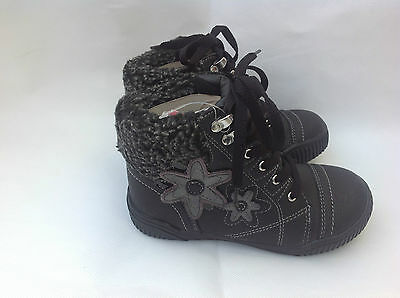 GIRLS WINTER FUR TRIM FLOWER BOOTS BROWN AND BLACK SIZES 8,9,10,11,12,13,1,2