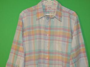 Brooks-Brothers-Men-039-s-Size-L-Large-Colorful-Plaid-Long-Slv-Button-Front-Shirt