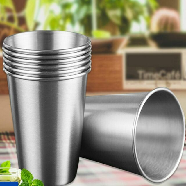 Portable Metal Drinking Tumbler Pint Coffee Mugs Cup Stainless Steel Camp Kits