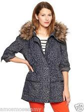 NWT GAP Womens Faux Fur Trim Leopard Parka Jacket Coat Gray Black Snap L $168