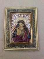 Madonnenbildnis Madonnenbild Mutter Gottes Bild aus Kunststein ?? (FE29)