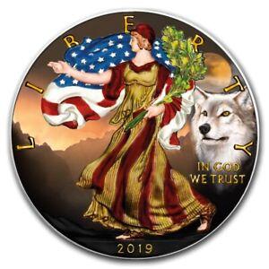 2019 Amerikanischer Adler Silber Wolf 1 Oz Farbe Gefärbten Prägung 100 Pcs Etui SchöN In Farbe