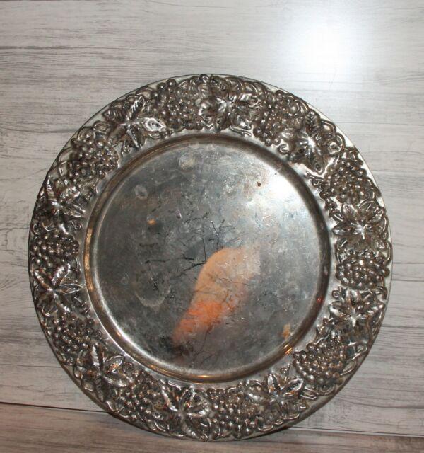 Vintage ornate floral round serving tray platter