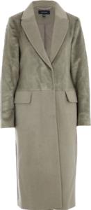Karen Millen womens coat faux pony fur wool blend longline winter overcoat