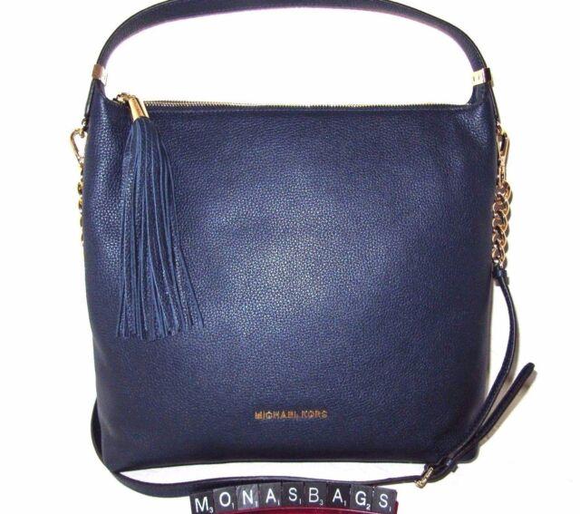 98d4c0875583 Michael Kors Navy Blue Leather Bedford Large Top Zip TZ Shoulder Bag NWT  $328
