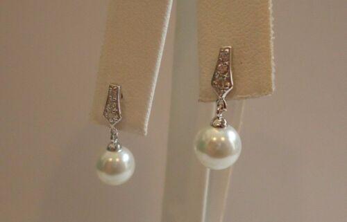Argent Sterling 925 Femmes Designer Pendantes Perles Clous D/'Oreilles Avec Diamant