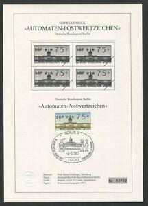 Limitiert ! Vorsichtig Berlin Atm Schwarzdruck 1987 75 Pfg Black Print Ltd Z1510