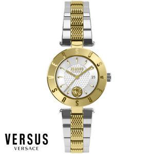 Versus-by-Versace-VSP772518-Logo-weiss-gold-silber-Edelstahl-Damen-Uhr-NEU