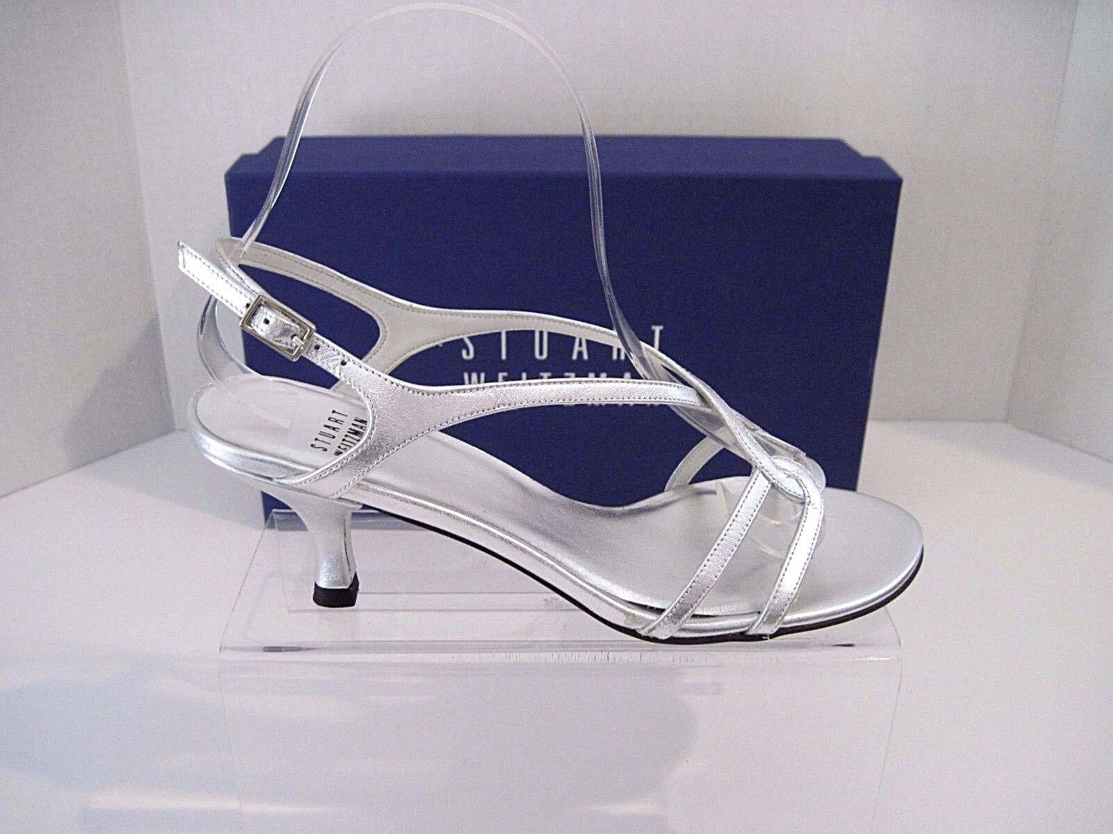 Stuart Weitzman Reversal Silver Supple Kid Leather Strappy Heels Sandals 6 B NEW