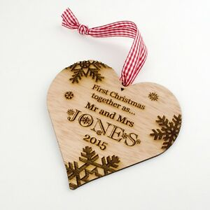 Image Is Loading Personalised Wooden First Christmas Tree Decoration 1st Xmas
