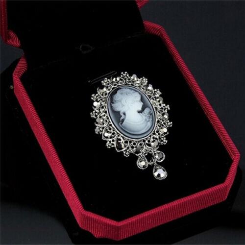 Vintage camée style victorien en cristal mariage partie femmes pendentif~PL