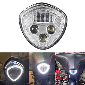 CREE-LED-Headlight-Halo-Angel-Eye-H-L-Beam-DRL-Chrome-For-VICTORY-CrossCountry