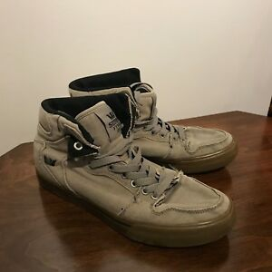 6b4f4f31e592 Details about Supra Vaider Mens Gray Canvas High Top Lace Up Sneakers Shoes  Mens 8 US