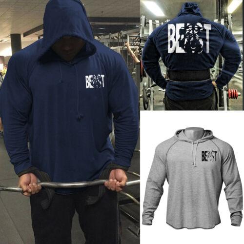Men/'s Fitness Gym Workout Bodybuilding Raglan Hoodies Sweatshirts
