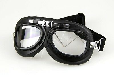 Aviator Pilot Cruiser Motorcycle Scooter ATV Bicycle Goggles Eyewear Clear Lens