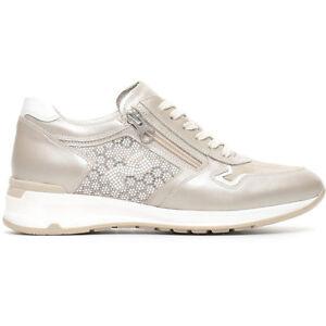 Sneaker donna NEROGIARDINI stringhe zip tre colori P717041D pelle e camoscio