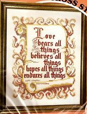 "Vintage Paragon ""Love Bears All Things"" Stamped Cross Stitch Linen Sampler Kit"