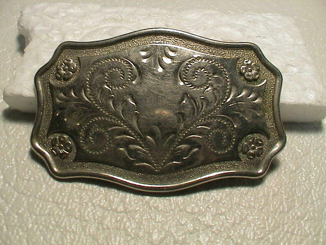 WESTERN COWGIRL FLORAL THEME CHROME METAL BELT BUCKLE SMALLER SIZE NICE!