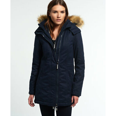New Womens Superdry Microfibre Tall SD-Windparka Jacket Navy