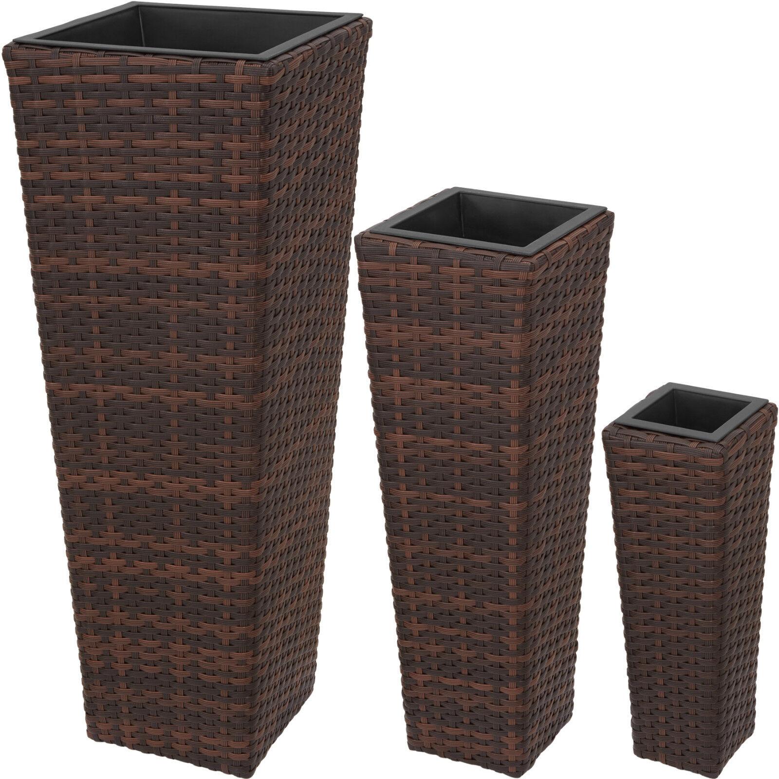 Set di 3 vasi polyrattan giardino casa balcone arrojoo rattan vaso mixed-marrón
