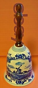 Porcelain-Delft-Blue-Bell-Hand-Hand-Painted-Wooden-Handle-Holland-Vintage