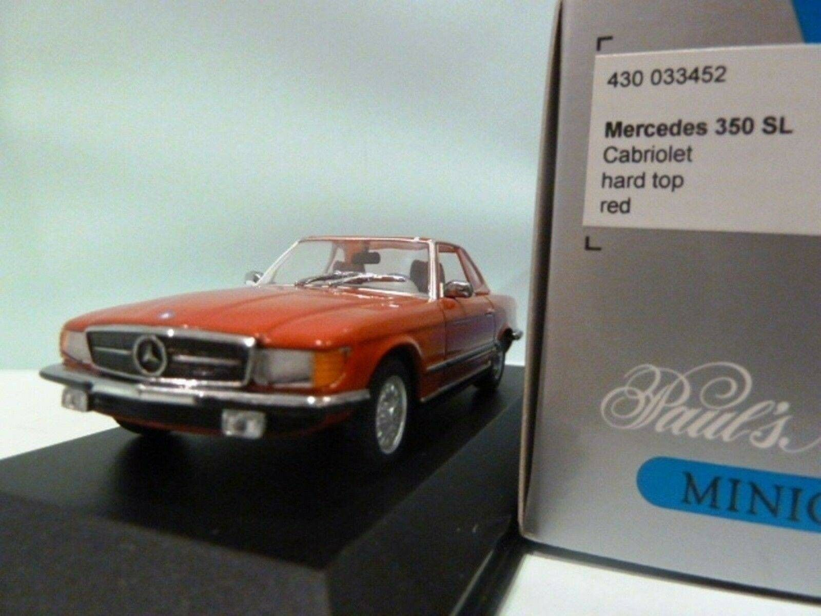 WOW EXTREMELY RARE Mercedes W107 R107 350SL Hard Top 1974 Red 1 43 Minichamps