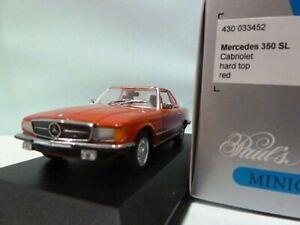 Wow extrêmement rare Mercedes W107 / r107 350sl Hard Top 1974 rouge 1:43 Minichamps 4012138070820