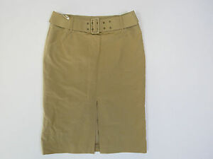 B-175-LADIES-COUNTRY-ROAD-DARK-BEIGE-SHINNY-SKIRT-WITH-BELT-SIZE-6-AS-NEW