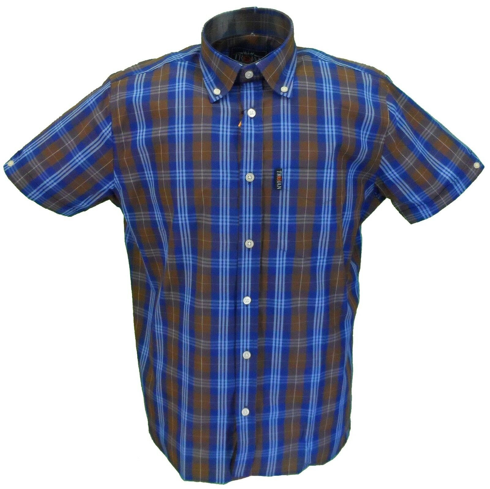 ad2eb0fe7003 TROJAN Records Uomo Retrò Marronee Check 100% Cotone Camicie a maniche  corte Da nsxysd56-Camicie casual e maglie